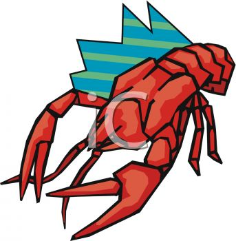 picture of a cartoon lobster in a vector clip art illustration