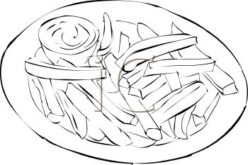 picture of a plate of french fries and a cup of dipping sauce in a vector clip art illustration