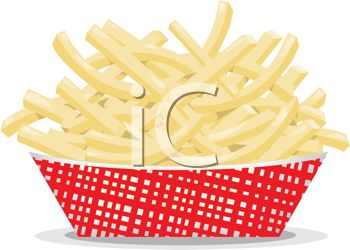 picture of a cardboard container full of french fries in a vector clip art illustration