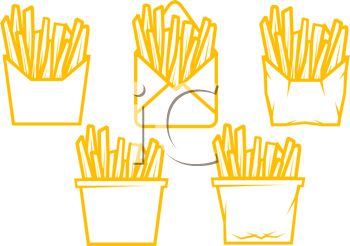 picture of 5 bags of french fries in a vector clip art illustration