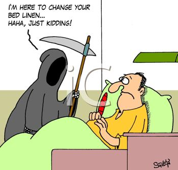 picture of a grim reaper haunting a sick man in a hospital bed in a vector clip art illustration