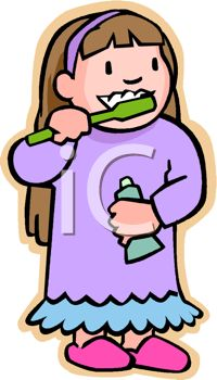 picture of a young girl in her pajamas brushing her teeth in a rh clipartguide com