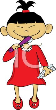 picture of an asian girl brushing her teeth in a vector clip art illustration