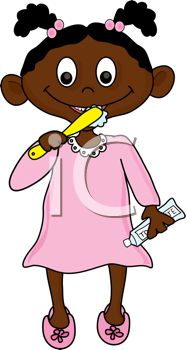 picture of an African American girl brushing her teeth in a vector clip art illustration
