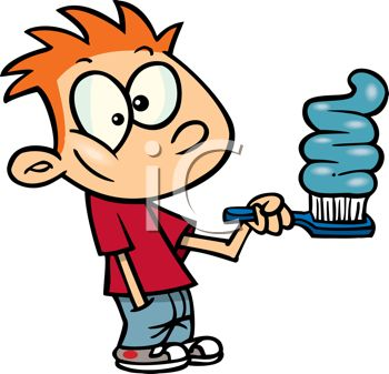 picture of a young boy preparing to brush his teeth with a large amount of toothpaste in a vector clip art illustration