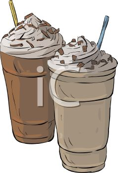 picture of two milkshakes with chocolate sprinkles in a vector clip art illustration