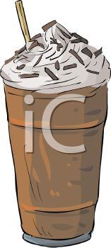 picture of a chocolate milkshake with chocolate sprinkles in a vector clip art illustration