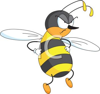 picture of an angry honeybee with his hands on his hips in a vector clip art illustration