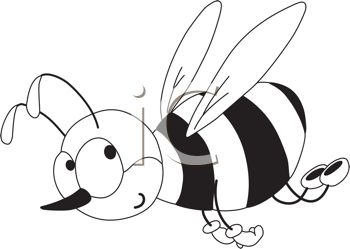 picture of a honeybee flying in black and white in a vector clip art illustration
