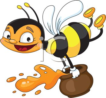 picture of a happy honeybee flying and holding a jar of honey in a rh clipartguide com honey clipart black and white honey clipart free