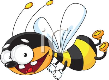 picture of a happy bee smiling and flying through the air in a vector clip art illustration