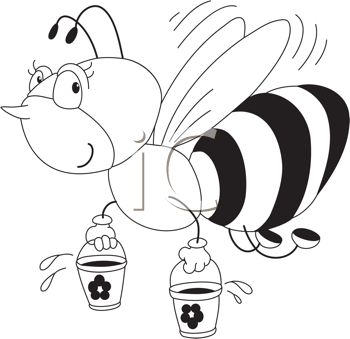 picture of a honeybee flying with two pails of honey in a vector clip art illustration