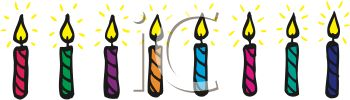 picture of a row of colorful burning birthday candles in a vector clip art illustration