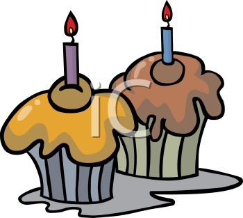 picture of  a chocolate and a vanilla cupcake with burning candles in a vector clip art illustration