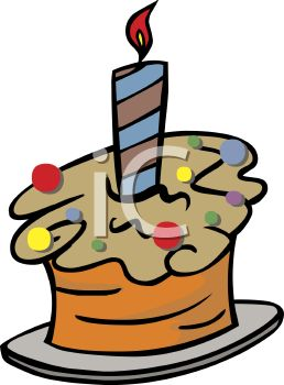 picture of a frosted cupcake with confetti sprinkles and a burning candle in a vector clip art illustration