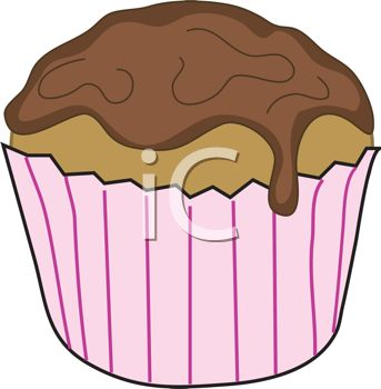 picture of a chocolate frosted cupcake in a vector clip art illustration