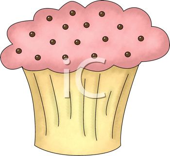 picture of a pink frosted cupcake in a vector clip art illustration