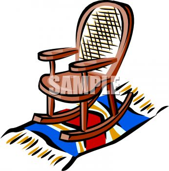 picture of a wooden rocking chair sitting on a blanket in a vector clip art illustration