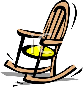 picture of a wooden rocking chair with a yellow padded seat in a vector clip art illustration