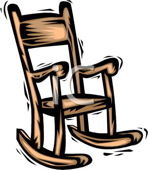 picture of a cartoon wooden rocking chair in a vector clip art illustration
