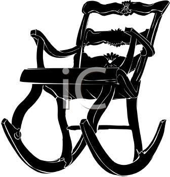 Picture Of A Silhouette Of A Wooden Rocking Chair In A Vector Clip Art  Illustration   Royalty Free Clipart Illustration