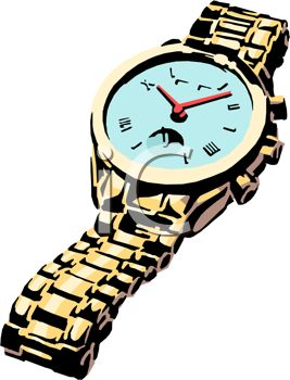 picture of a wrist watch with a silver band in a vector clip art illustration