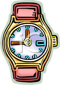 picture of a wrist watch with no band in a vector clip art illustration