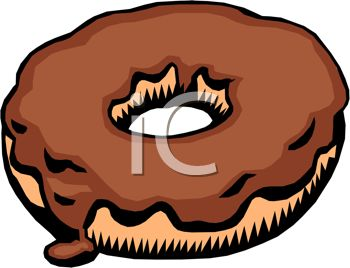 picture of a chocolate frosted donut in a vector clip art illustration