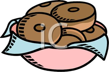 picture of a bowl of chocolate frosted donuts in a vector clip art illustration