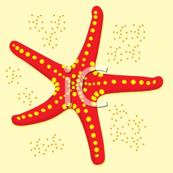 picture of a starfish in the sand in a vector clip art illustration