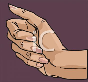 picture of a woman's hand on a purple background in a vector clip art illustration