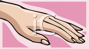 Picture Of A Womans Hand With Painted Nails In Vector Clip Art Illustration