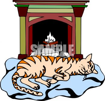 picture of a cat laying on a blanket in fron of a burning fire in a clip art illustration