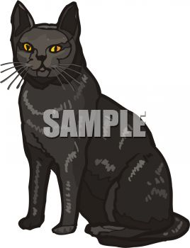 picture of a black cat sitting in a vector clip art illustration