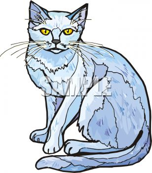 picture of a cat sitting down in a vector clip art illustration
