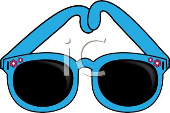 picture of a pair of blue sunglasses in a vector clip art illustration