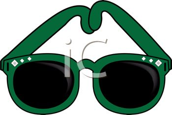picture of a pair of green sunglasses in a vector clip art illustration