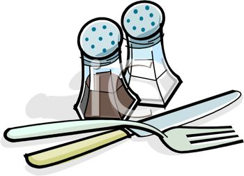 picture of a knife, fork, and salt and pepper shakers in a vector clip art illustration