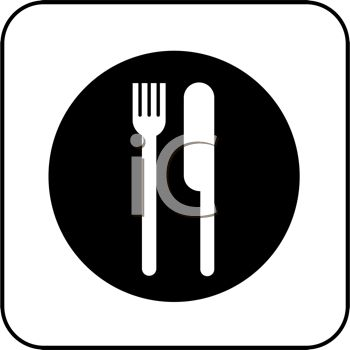 picture of a knife and fork on a plate in vector clip art illustration