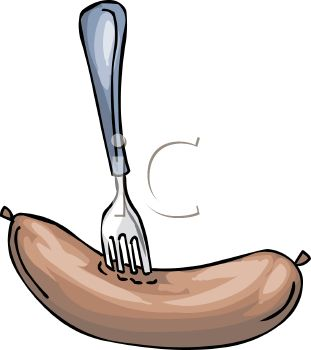 picture of a fork stuck into a sausage in vector clip art illustration