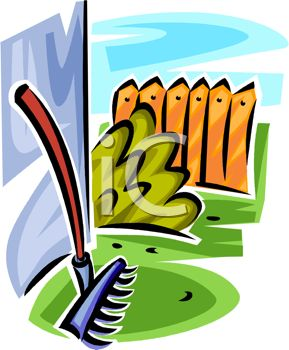 picture of a rake laying against a wall in a vector clip art illustration