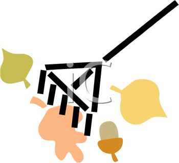 picture of a rake with leaves and acorns in a vector clip art illustration