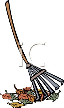 picture of a rake with a pile of leaves in a vector clip art illustration