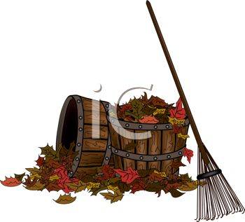 picture of whiskey barrels full of leaves and a rake in a vector clip art illustration