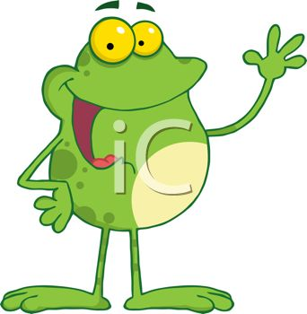 picture of a frog standing up with his hand in the air talking in a vector clip art illustration