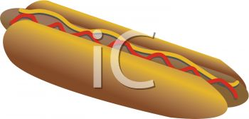 picture of a hot dog with ketchup and mustard in a vector clip art illustration