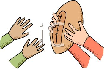 picture of a football with two sets of hands passing it back and forth in a vector clip art illustration