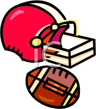 Picture of a football helmut and football in a vector clip art illustration