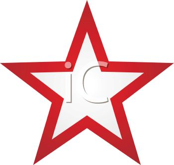 picture of white star in the center of a red star in a vector clip art illustration