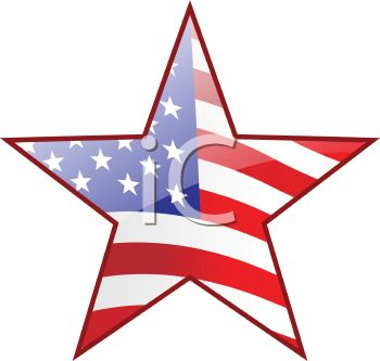 picture of a star with the colors of the American Flag in a vector clip art illustration